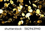 golg coins isolated on black... | Shutterstock . vector #582963940