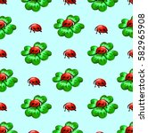 pattern clover and ladybugs | Shutterstock .eps vector #582965908