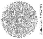 cartoon cute doodles hand drawn ... | Shutterstock .eps vector #582965929