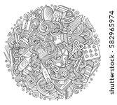 cartoon cute doodles hand drawn ... | Shutterstock .eps vector #582965974