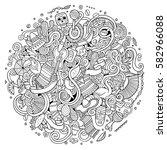 cartoon hand drawn doodles... | Shutterstock .eps vector #582966088