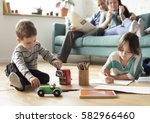 family spend time happiness... | Shutterstock . vector #582966460