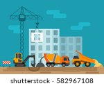 construction site with... | Shutterstock .eps vector #582967108