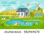 eco living landscape with eco... | Shutterstock .eps vector #582969670