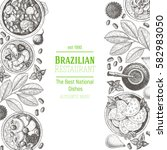 brazilian food top view.... | Shutterstock .eps vector #582983050