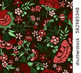 embroidery seamless pattern... | Shutterstock .eps vector #582985348