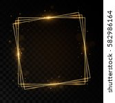 shining square golden frame.... | Shutterstock .eps vector #582986164