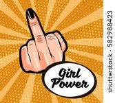 girl power. female hand showing ... | Shutterstock .eps vector #582988423
