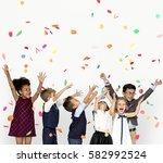 children smiling happiness... | Shutterstock . vector #582992524