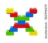 letter x plastic font alphabet...   Shutterstock . vector #582996079