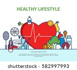 healthy lifestyle concept with... | Shutterstock .eps vector #582997993