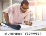 concentrated professional afro... | Shutterstock . vector #582999514