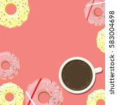 donuts and cup of coffee or hot ... | Shutterstock .eps vector #583004698