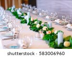 wedding table settings. | Shutterstock . vector #583006960