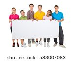 group of smiling people holding ... | Shutterstock . vector #583007083