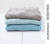 stack of women's  knit...   Shutterstock . vector #583007860