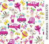 vector seamless pattern of... | Shutterstock .eps vector #583013770