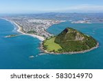 aerial view of mt maunganui ... | Shutterstock . vector #583014970