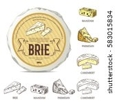 creative sticker for brie on... | Shutterstock .eps vector #583015834