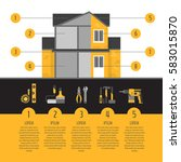house repair infographics. hand ... | Shutterstock .eps vector #583015870