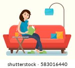 young woman reading book on... | Shutterstock .eps vector #583016440