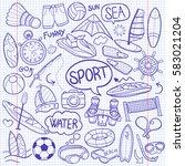 sport water summer doodle icon...   Shutterstock .eps vector #583021204