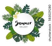 enjoy summer greeting card ... | Shutterstock .eps vector #583029280