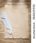 vintage sheet of paper quill on ... | Shutterstock . vector #583029550