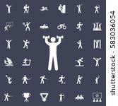 human with dumbbells icon.... | Shutterstock .eps vector #583036054