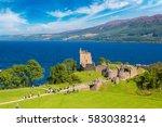 urquhart castle along loch ness ... | Shutterstock . vector #583038214