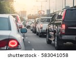 traffic jam with row of car on... | Shutterstock . vector #583041058
