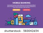 mobile banking concept for web... | Shutterstock .eps vector #583042654