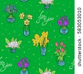 seamless pattern with bouquets... | Shutterstock .eps vector #583053010