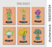a set of cards with hand drawn... | Shutterstock .eps vector #583053034