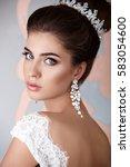 beautiful luxury bride with... | Shutterstock . vector #583054600