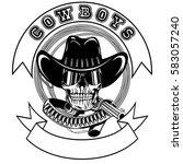 vector illustration cowboy... | Shutterstock .eps vector #583057240