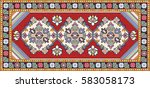 colorful oriental mosaic rug...   Shutterstock .eps vector #583058173