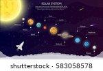 solar system space shuttle flat ... | Shutterstock .eps vector #583058578