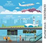 airport passenger terminal and... | Shutterstock .eps vector #583058650