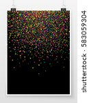 confetti poster on binder clips.... | Shutterstock .eps vector #583059304