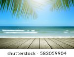 beach background with palm tree ... | Shutterstock . vector #583059904
