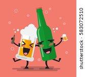 drunk beer glass and bottle... | Shutterstock .eps vector #583072510
