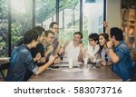 Small photo of Group Of Asian Business people with casual suit working with happy action and celebrate in the Office or coffee shop, people business group concept