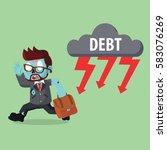zombie businessman running from ... | Shutterstock .eps vector #583076269