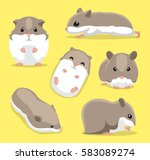 Cute Hamster Poses Cartoon...