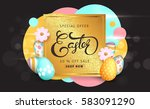 easter sale banner background... | Shutterstock .eps vector #583091290