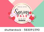 spring sale background banner... | Shutterstock .eps vector #583091590