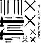 hammer nail icon vector... | Shutterstock .eps vector #583094668