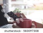 business man using laptop... | Shutterstock . vector #583097308