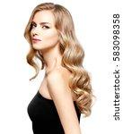 beautiful blonde girl portrait  ... | Shutterstock . vector #583098358